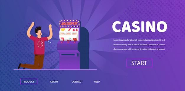 Grido sfortunato dell'uomo che perde la slot machine dei soldi contante Vettore Premium