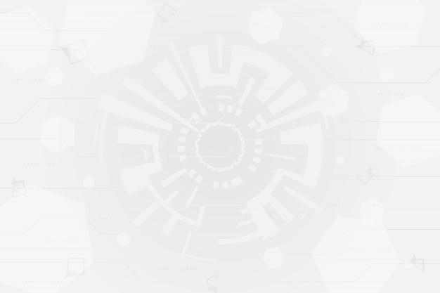 Grigio bianco tecnologia astratta cerchi sfondo Vettore Premium