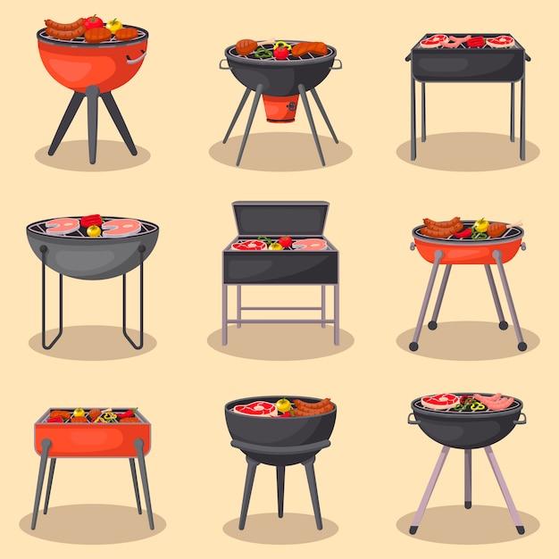 Griglia del barbecue con l'insieme isolato alimento Vettore Premium