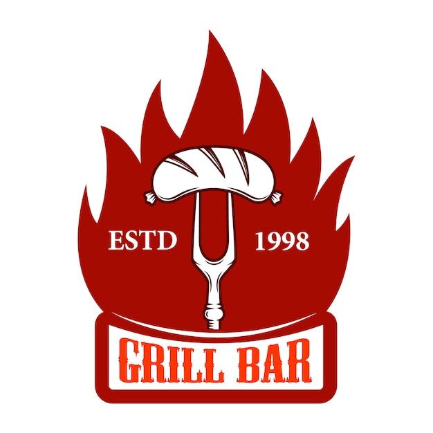 Grill bar. forcella con salsiccia e fuoco. elemento per logo, etichetta, emblema, segno. immagine Vettore Premium