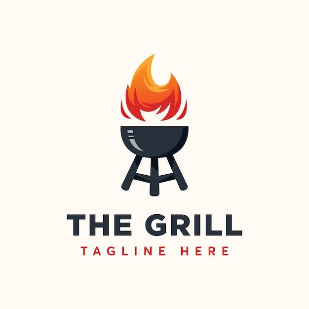 Grill logo template Vettore Premium