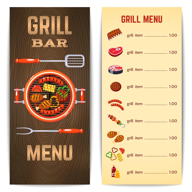 Grill menu illustration Vettore gratuito