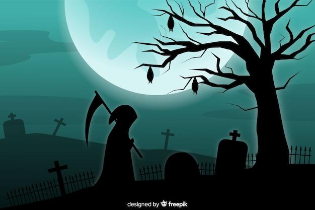 Grim reaper e luna piena sullo sfondo del cimitero Vettore gratuito