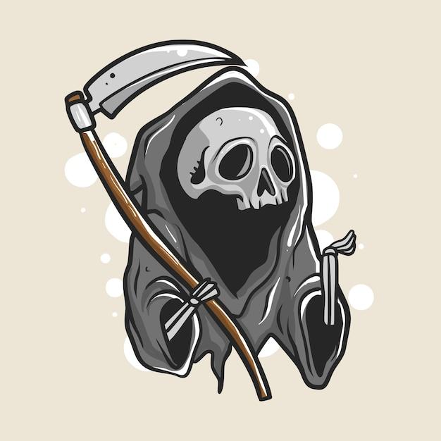 Grim reaper illustrazione Vettore Premium