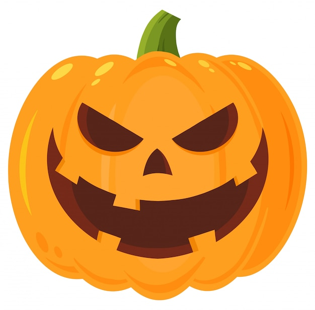 Grinning male halloween pumpkin cartoon Vettore Premium