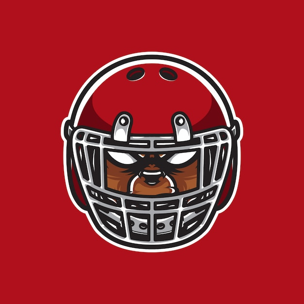 Grizzly logo head football player Vettore Premium