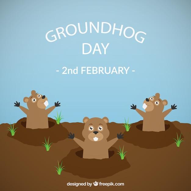 Groundhog day divertente illustrazione Vettore gratuito