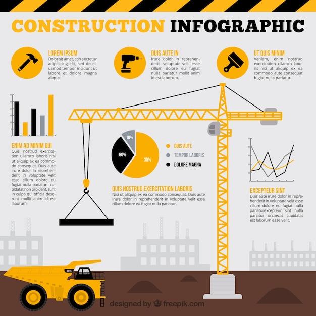 Gru con elementi infographic gialle Vettore gratuito