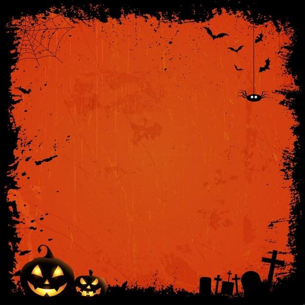 Grunge stile sfondo halloween con zucche Vettore gratuito