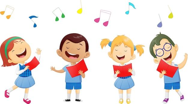Gruppi di bambini delle scuole che cantano in coro Vettore Premium