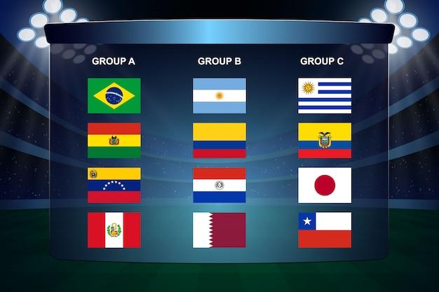 Gruppi di coppa del calcio in sud america Vettore Premium