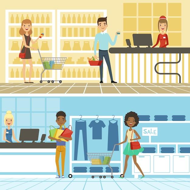 Gruppi di persone divertenti e felici fanno shopping nel supermercato. Vettore Premium
