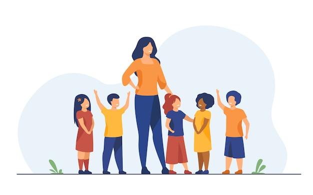 Gruppo di alunni con insegnante di scuola femminile Vettore gratuito