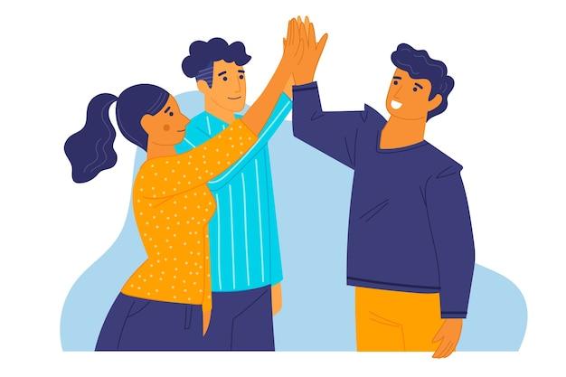 Gruppo di amici che danno il cinque Vettore gratuito