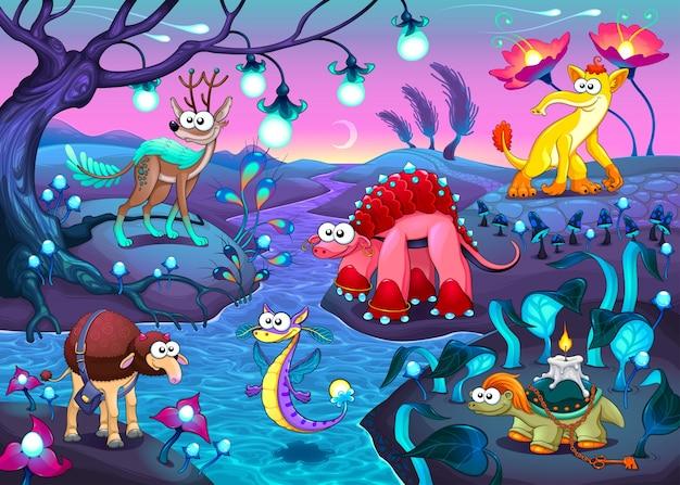 Gruppo di animali divertenti in un paesaggio fantasy