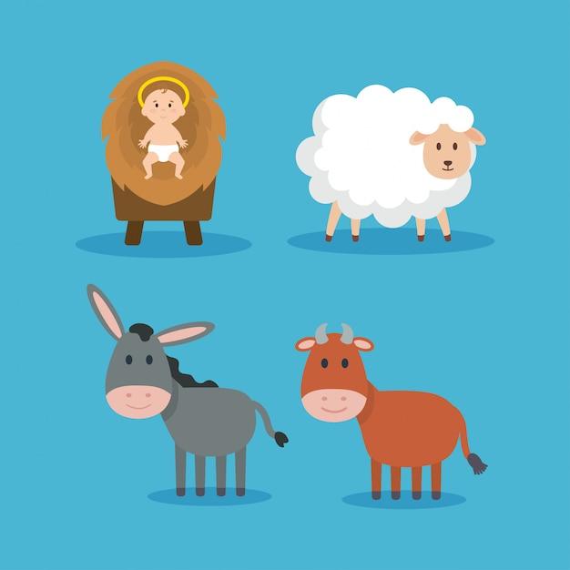 Gruppo di animali e personaggi del presepe gesù Vettore Premium