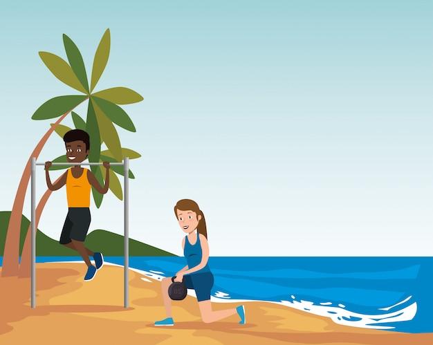 Gruppo di atleti che praticano sport sulla spiaggia Vettore gratuito