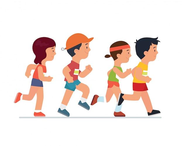 Disegno Di Un Bambino Che Corre Bambini Che Corrono Nel Parco U2014