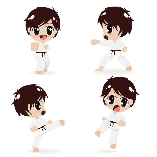 Gruppo di bambini di karate Vettore Premium