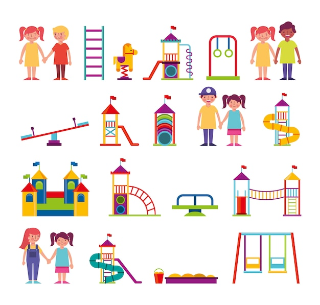 Gruppo di bambini e personaggi del parco divertimenti Vettore gratuito