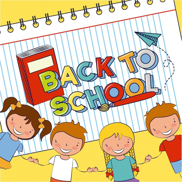 Gruppo di bambini felici, ritorno a scuola, illustrazione modificabile Vettore gratuito