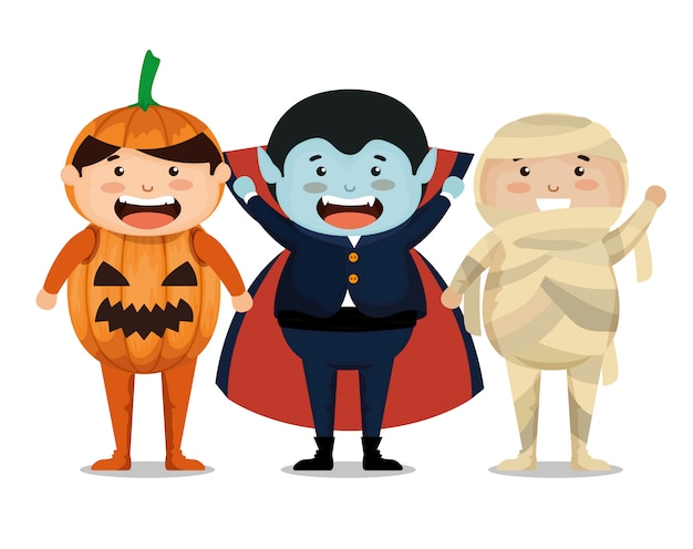 Gruppo di bambini vestiti in halloween Vettore gratuito