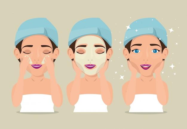 Gruppo di belle donne nel trattamento del viso Vettore gratuito