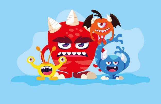 Gruppo di cartoni animati di mostri Vettore Premium