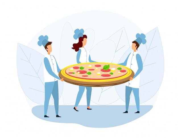 Gruppo di chef holding huge pizza su tray metaphor Vettore Premium