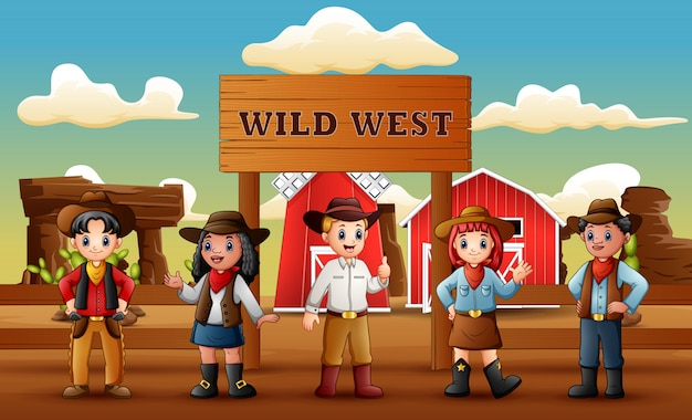 Gruppo di cowboy e cowgirl nel fondo selvaggio dell'azienda agricola ad ovest Vettore Premium