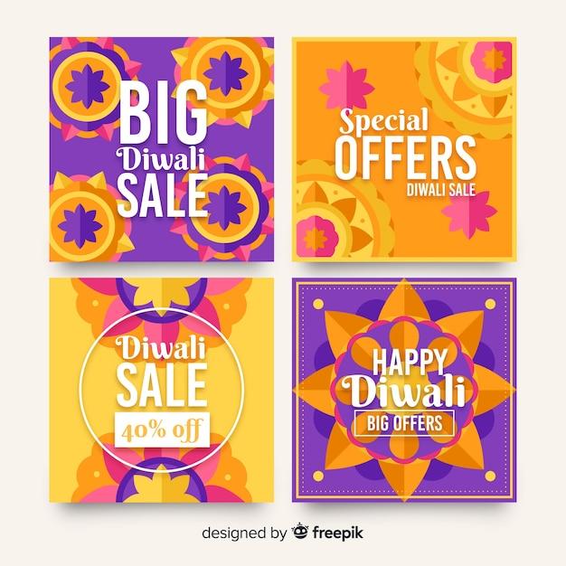 Gruppo di diwali holiday instagram post Vettore gratuito