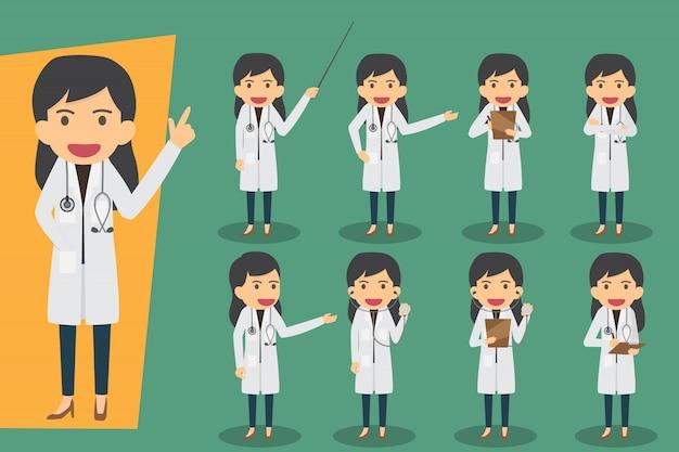 Gruppo di dottoresse, personale medico. personaggi di persone design piatto. impostare i medici in varie pose. concetto di salute e medicina Vettore Premium