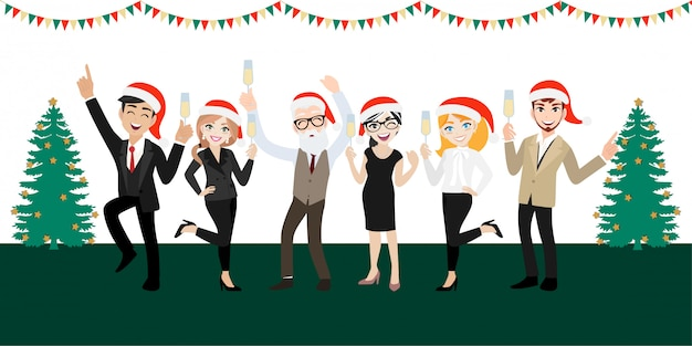 Gruppo di festa felice di uomini d'affari con personaggio dei cartoni animati, buon natale e felice anno nuovo Vettore Premium