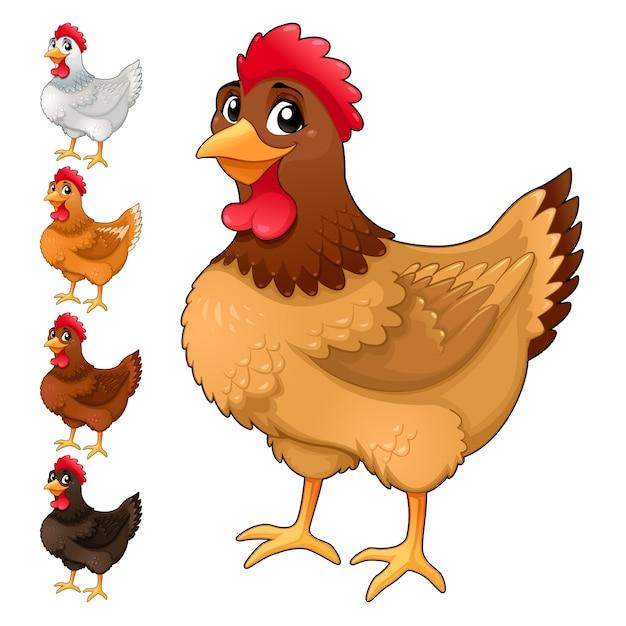 Gruppo di galline divertenti in diversi colori isolato fumetto vettoriale animali Vettore Premium
