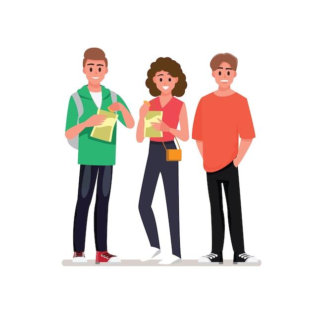 Gruppo di giovani allegri che godono della festa a casa con gli spuntini. personaggio dei cartoni animati. Vettore Premium