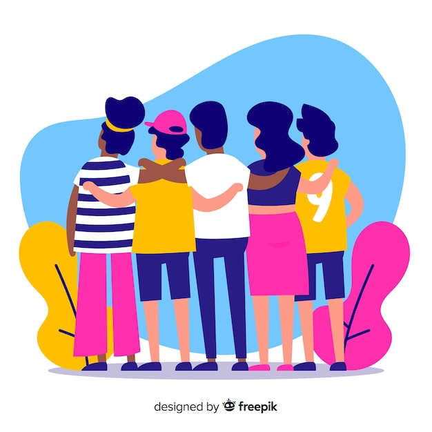 Gruppo di giovani che si abbracciano insieme Vettore gratuito