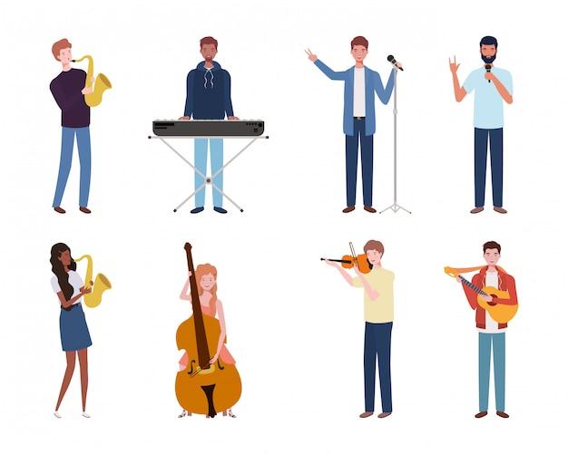 Gruppo di giovani che suonano strumenti musicali Vettore Premium