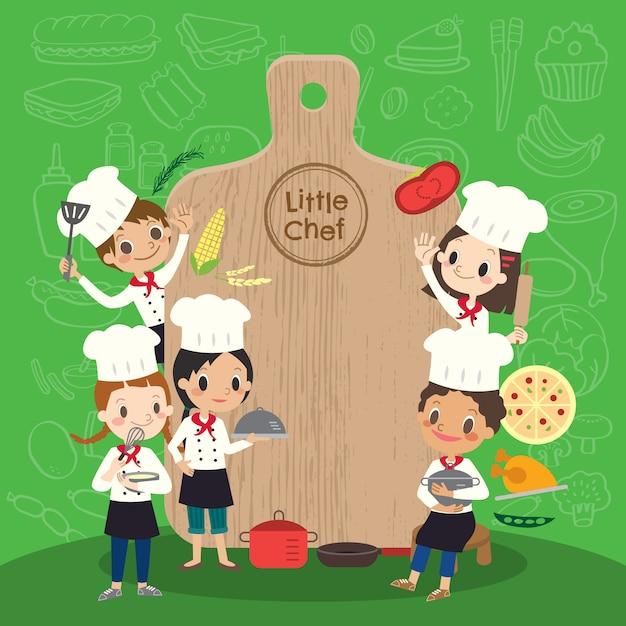 Gruppo di giovani chef Vettore Premium