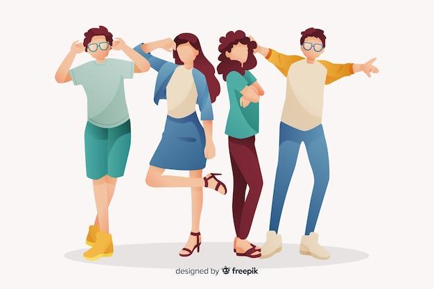 Gruppo di giovani in posa per una foto Vettore gratuito