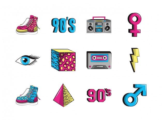 Gruppo di icone degli anni novanta Vettore Premium