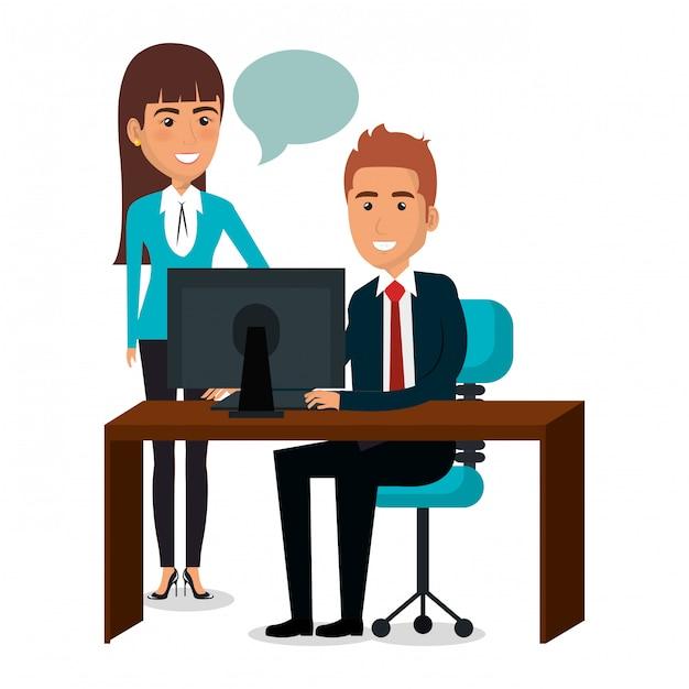 Gruppo di lavoro di squadra delle persone di affari nell'illustrazione del posto di lavoro Vettore gratuito