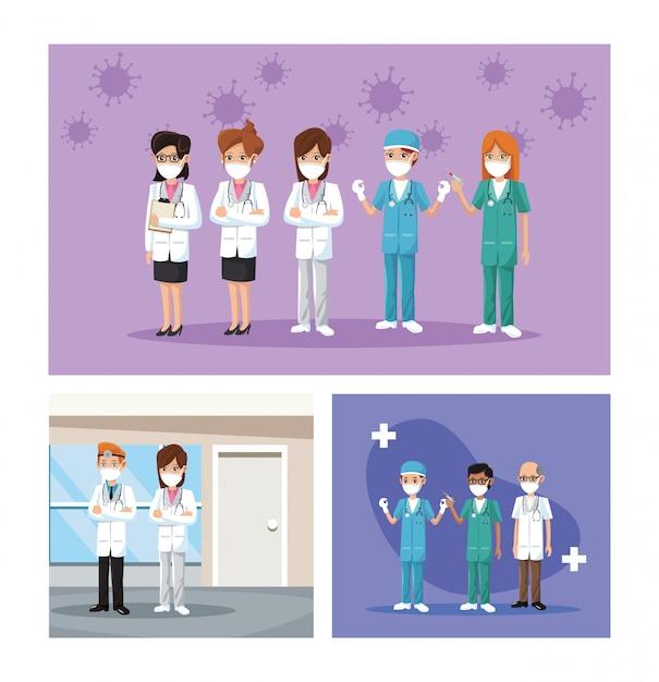 Gruppo di medici che indossano maschere mediche Vettore Premium