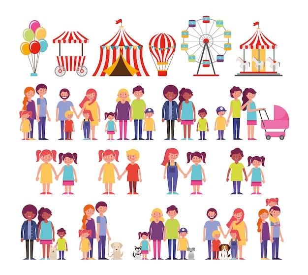 Gruppo di membri della famiglia con animali domestici e icone di intrattenimento Vettore gratuito