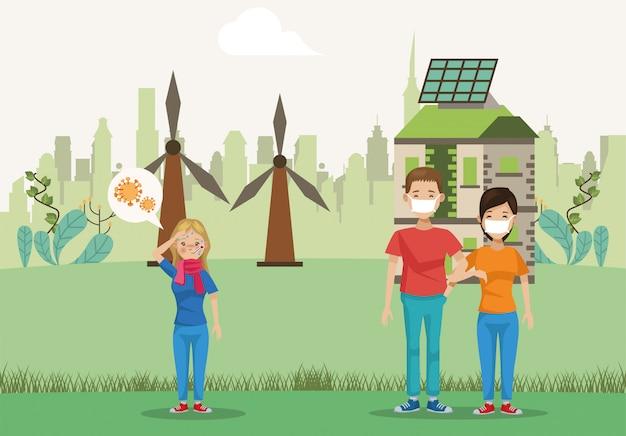 Gruppo di personaggi ambientalisti avatar Vettore Premium