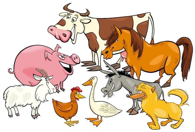 Gruppo di personaggi dei cartoni animati degli animali della fattoria Vettore Premium