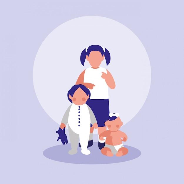 Gruppo di personaggi di bambine Vettore Premium