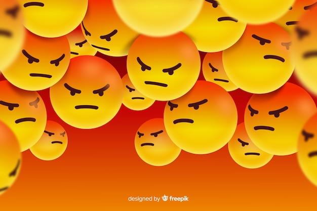 Gruppo di personaggi emoji arrabbiati Vettore gratuito