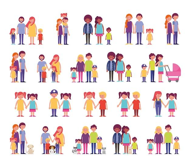 Gruppo di personaggi familiari Vettore gratuito