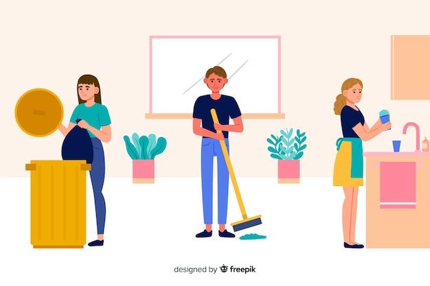 Gruppo di persone che fanno i lavori domestici illustrati Vettore gratuito