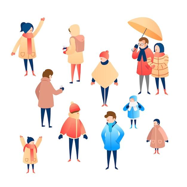 Gruppo di persone che indossano abiti invernali Vettore gratuito